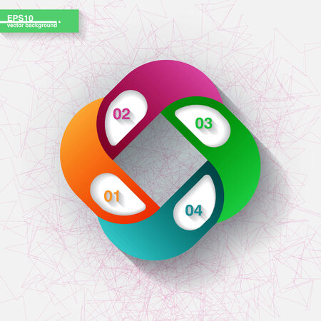 Infographic template with four orange, pink, blue and green labels  Eps10 Vector