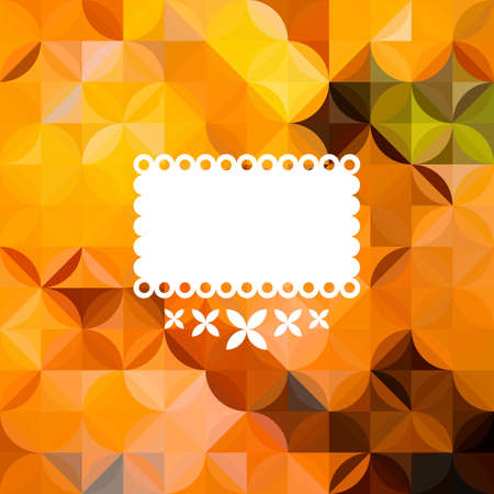 orange pattern: Colorful abstract triangular orange pattern with white label