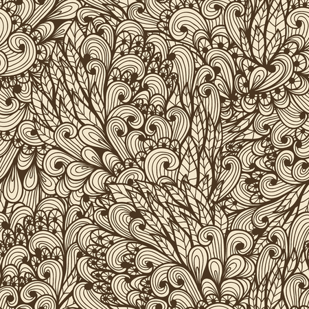 Seamless floral vintage monochrome doodle pattern with spirals Vector
