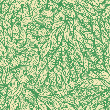 Seamless floral vintage green doodle pattern with spirals Vector