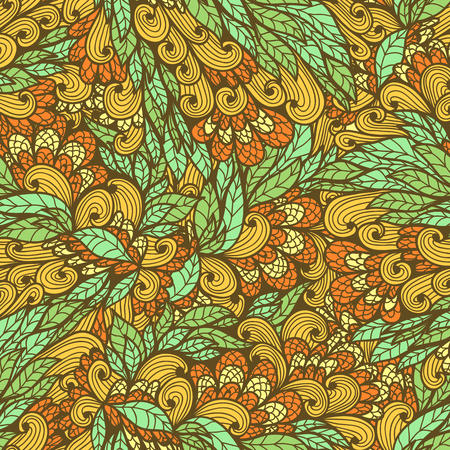 Seamless floral vintage summer orange and blue bright doodle pattern Vector