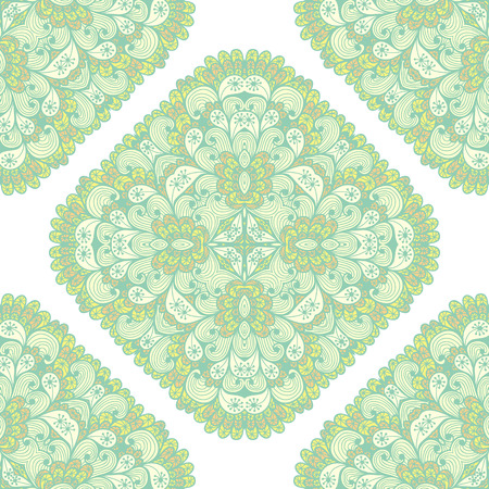 Seamless geometric pattern with hand drawn green and yellow ornamental rectangles Vector