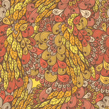 Seamless floral vintage summer orange and yellow bright doodle pattern Vector