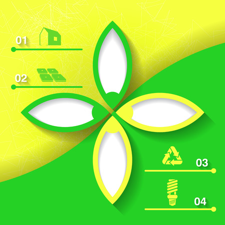 Green and yellow infograhpic background with symbols of sustainable development and bright flower   Vector