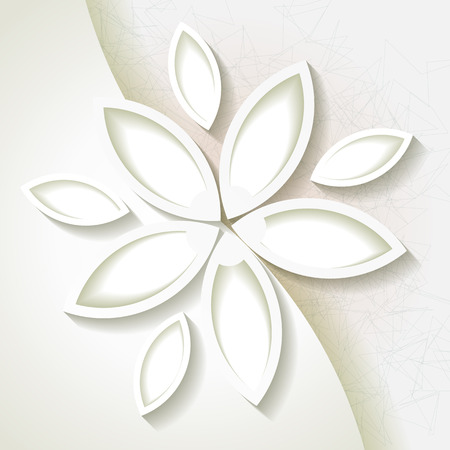Minimalistic background with white origami paper flower   Illustration