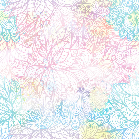 Seamless floral grunge  blue and pink gradient pattern   Vector