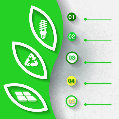 Green infograhpic background with symbols of renewable energy and five labels   Vector