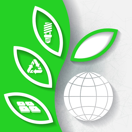 Green infograhpic background with symbols of renewable energy and earth planet   Vector
