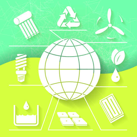 Green infograhpic background with symbols of renewable energy and earth planet  Eps10 Vector