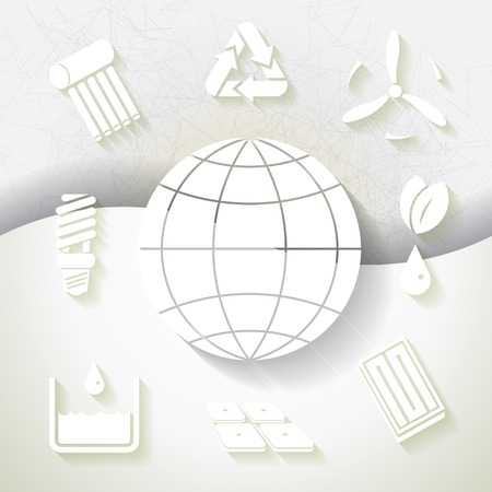 White infograhpic background with symbols of renewable energy and earth planet   Vector