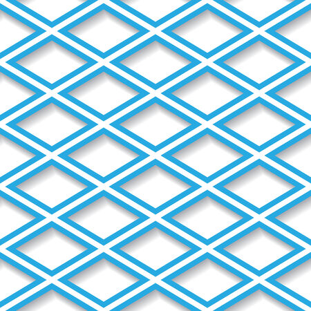 Abstract blue and white geometric seamless background with diamond grid