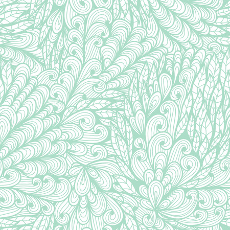 Seamless floral vintage blue doodle pattern with abstract nature elements Vector