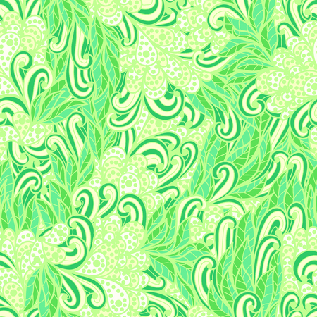 Seamless floral vintage summer green and yellow bright doodle pattern Vector