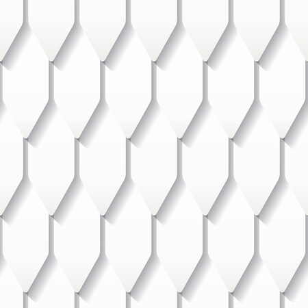 Seamless white origami pattern with roof tiles