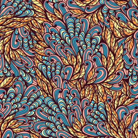 Seamless floral blue and pink hand drawn doodle pattern Vector