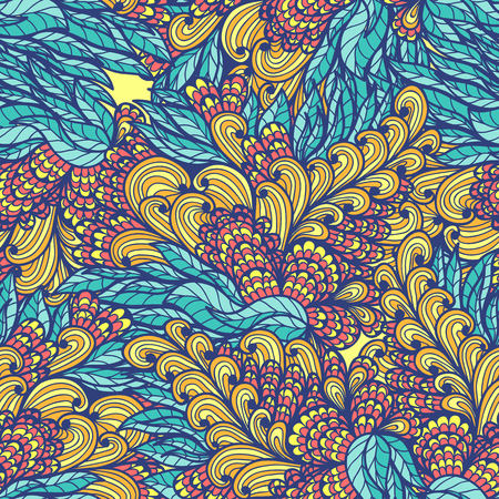 Seamless floral blue and orange hand drawn doodle pattern Vector