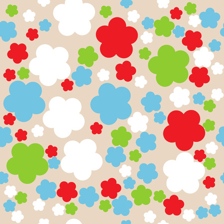 Seamless retro geometric pattern with flowers Vector