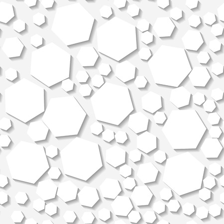 origami pattern: Seamless white origami pattern with random hexagons