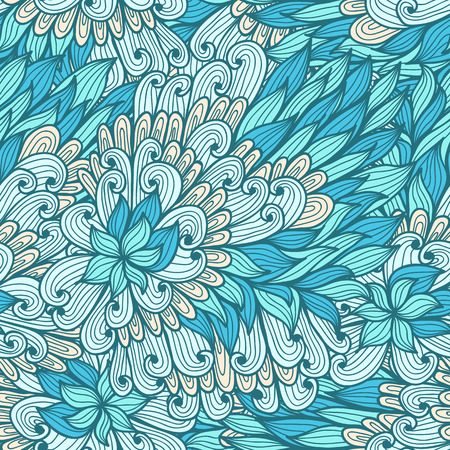 green hand: Seamless floral green hand drawn doodle pattern