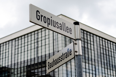 Street signs near Bauhaus building in Dessau, Germany