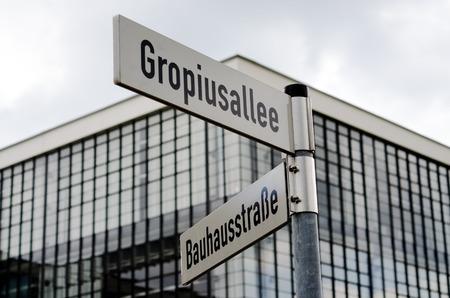 Street signs near Bauhaus building in Dessau, Germany