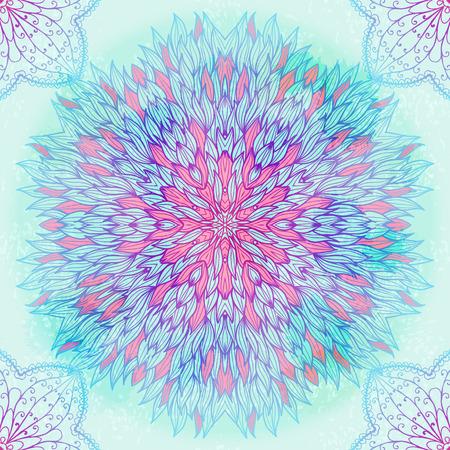 Hand drawn ethnic circular blue ornament. Eps10 Ilustrace