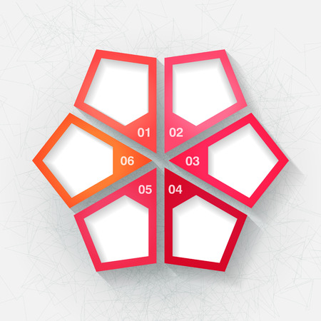 Infographic template with six pink and orange labels. Eps10 Vector