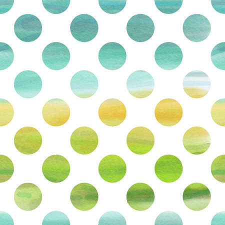 Green and blue watercolor seamless texture with polka dots Vector