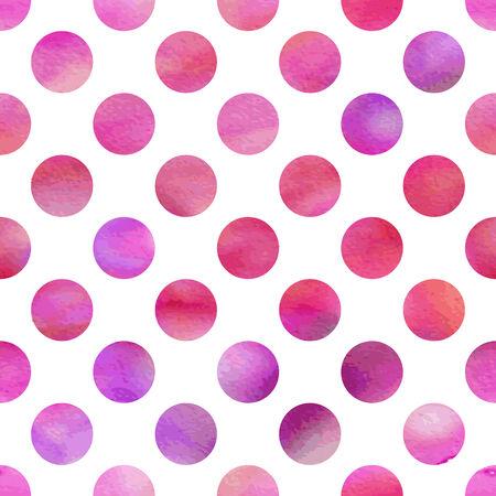 Patrón de la acuarela de color rosa sin fisuras con los lunares