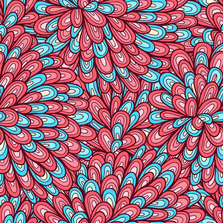 Seamless hand drawn pink and blue pattern with swirls Vector