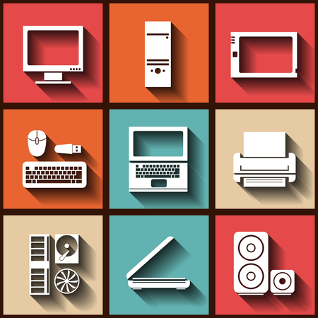 Set of 9 flat icons with computer elements.  Vector