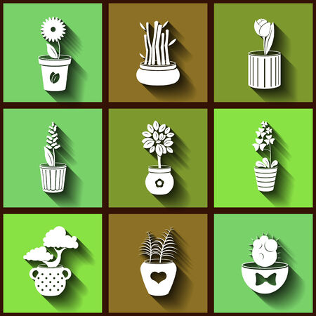 Set of 9 flat icons of different plants and flowers growing in pots.  Vector