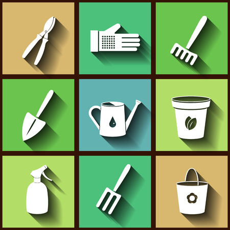 Set of 9 flat icons of garden instruments.  Vector