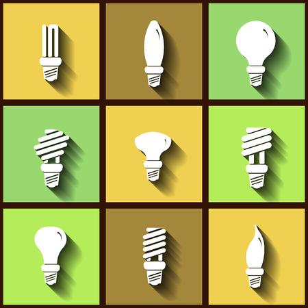 bombillo ahorrador: Conjunto de 9 iconos planos de l�mparas de bajo consumo.