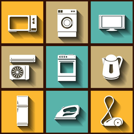 Set of 9 flat icons of domestic electric appliances.  Vector