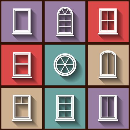 typology: Conjunto de 9 iconos planos de diferentes tipos de ventanas.
