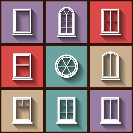 glass window: Set of 9 flat icons of different types of windows.