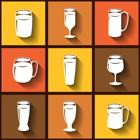 drinkware: Set of 9 flat icons of different beer glasses.