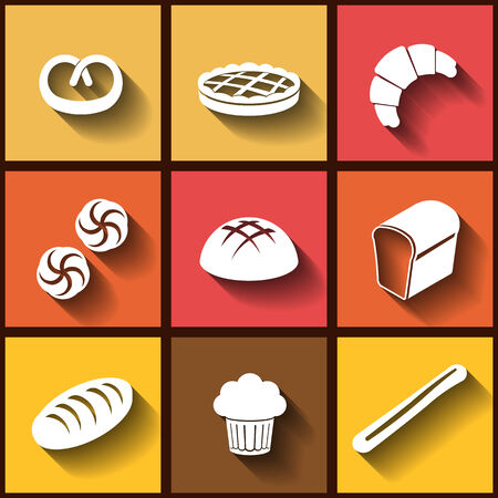 pain frais: Ensemble de 9 ic�nes plats de pain frais et des p�tisseries. Illustration