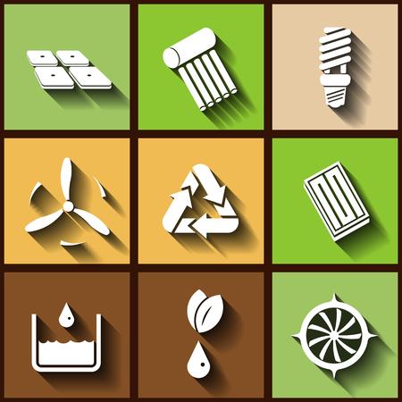bombillo ahorrador: Conjunto de 9 iconos planos de las energías renovables.
