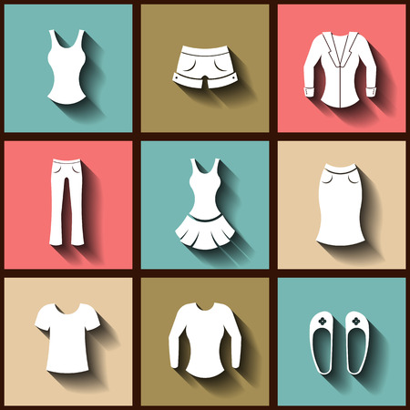 Set of 9 flat icons of female clothing.  Vector