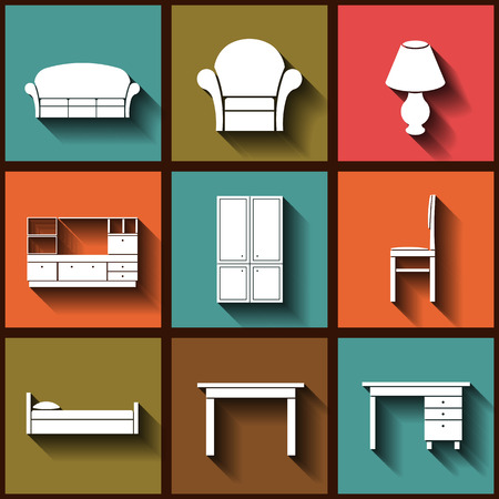 Set of 9 flat icons of house furniture.