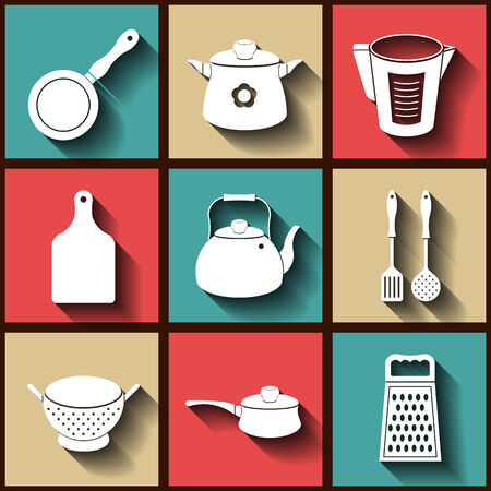 Set of 9 flat icons of kitchen utensils.  Vector