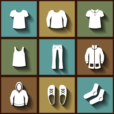 habiliment: Set of 9 flat icons of men clothing.