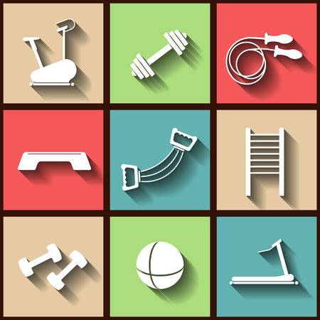 Set of 9 flat icons of the fintess club equipment. Vector