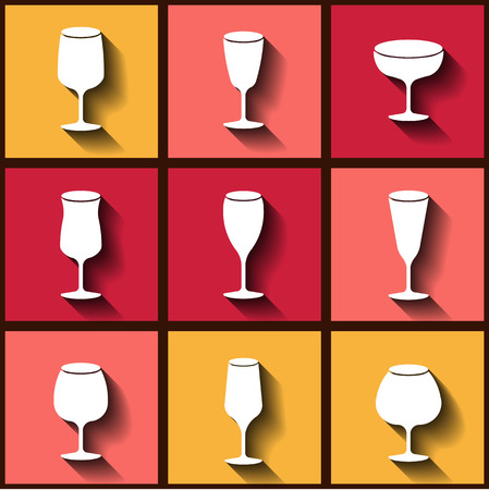 flutes: Set of 9 flat icons with different wine glasses.