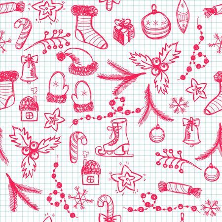 Seamless hand drawn Christmas pattern Vector