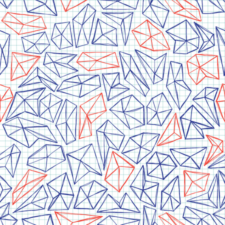 Seamless hand drawn pattern with polygons Vector