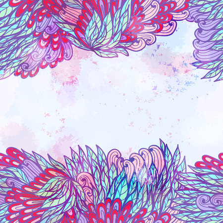 Hand drawn seamless pink and blue invitation card design with leaves. Eps10 Vector