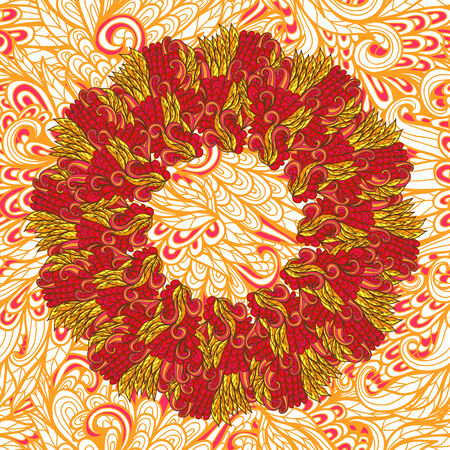 Hand drawn red and orange floral garland Vector